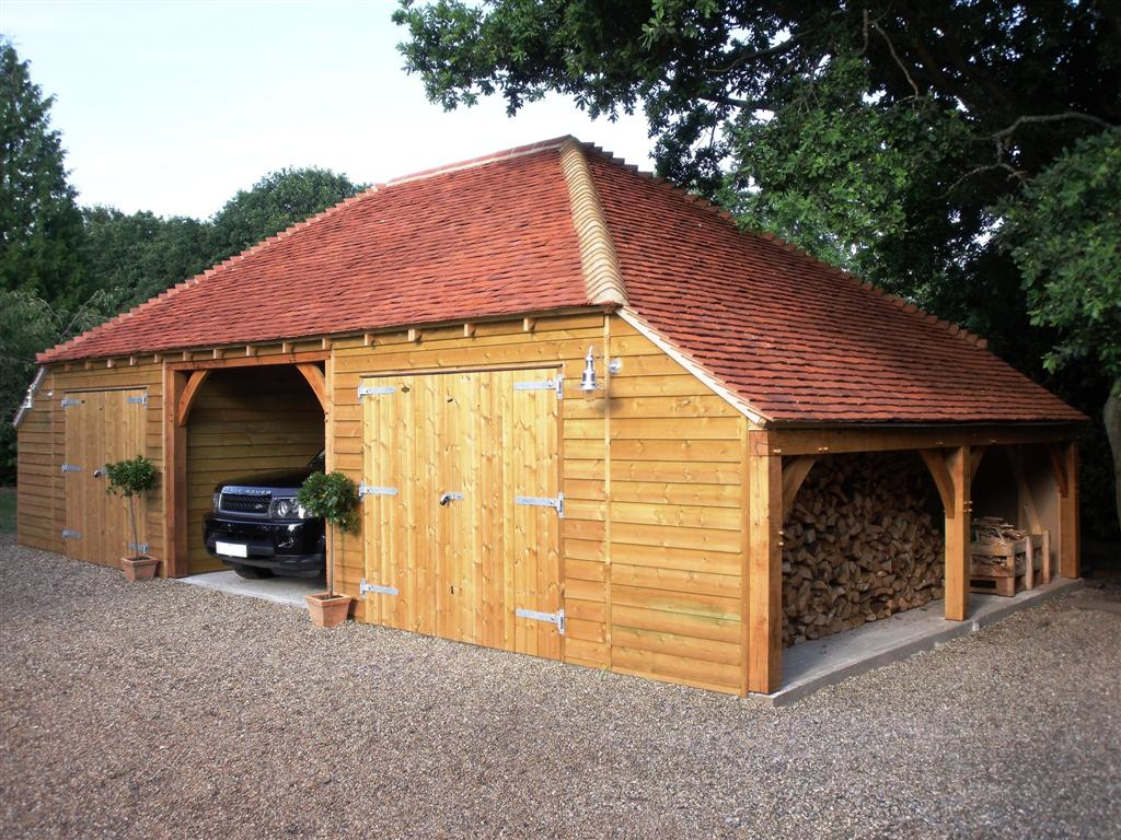 Large Timber Garage Workshop with log store